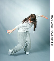 breakdance, bailarín, posar