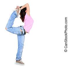 breakdance, dans, op, tiener, actie, witte