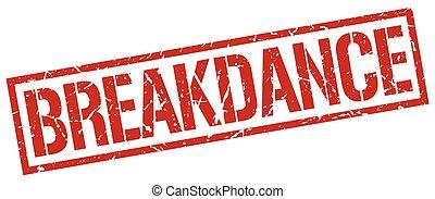 breakdance red grunge square vintage rubber stamp