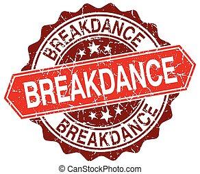 breakdance red round grunge stamp on white