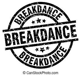 breakdance round grunge black stamp