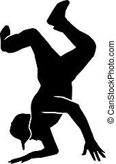 Breakdance stunt silhouette