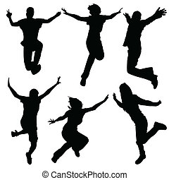 breakdance tanzen, m�dchen, silhouette, -