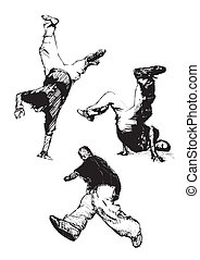 breakdance trio - sketching of the breakdancers