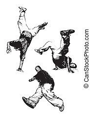 breakdance trio - sketching of the breakdancers