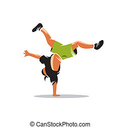 Breakdance vector sign - hip hop acrobatic breakdance man...