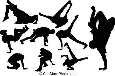 breakdance, vektor, -