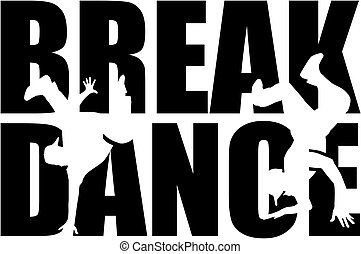 Breakdance word with cutout silhouette