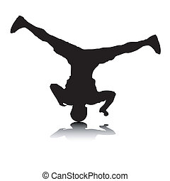 An abstract vector illustration of a break-dancer, who is doing a head spin.