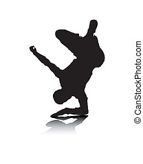 An abstract vector illustration of a break-dancer, who is balancing on his elbow.