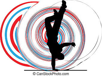 Breakdancer dancing on hand stand silhouette. Vector Illustration