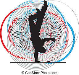Breakdancer dancing on hand stand silhouette. Vector ...