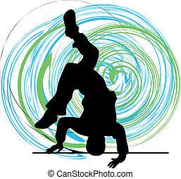 breakdancer, estante, bailando, mano