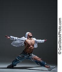 Breakdancer in a studio