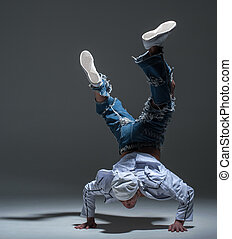Breakdancer in a studio