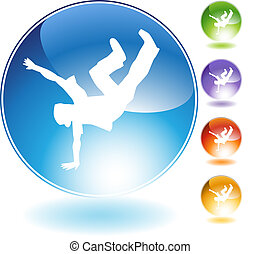 Breakdancer Kick Crystal Icon