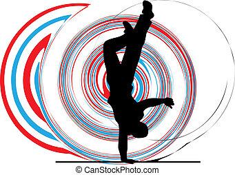 breakdancer, levantar, dançar, mão