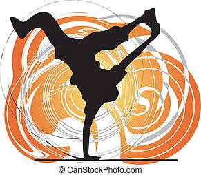 breakdancer, stand, danse, main