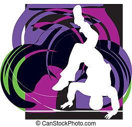 breakdancer, stand, dansende, hånd