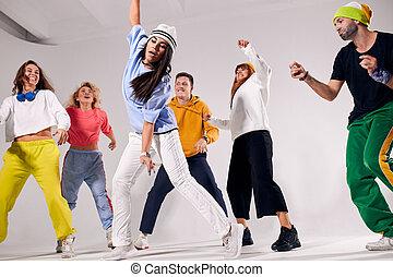 breakdancers, gai, fête