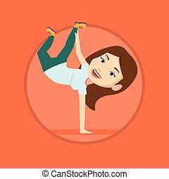 breakdancing, 女, ベクトル, 若い, illustration.