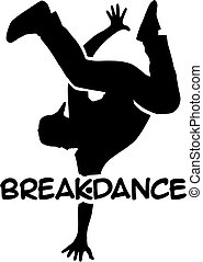 Breakdancing silhouette with word