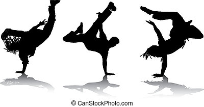 Breakdancing - set of breakdancer silhouettes