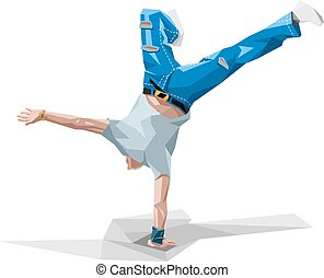 breakdancing - vector illustration in polygonal style of a ...