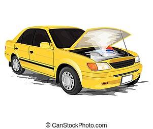 Breakdown car on white background vector design