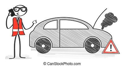 breakdown - stick man calling technical car service, vector...