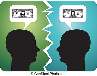 Two men arguing about money. Vector available