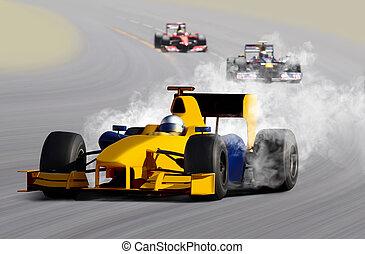 breakdown of formula one race car on speed track