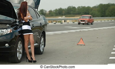 Breakdown On The Road - Car broke down on the way woman...