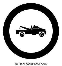 Breakdown truck black icon in circle