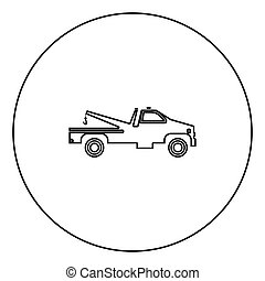 Breakdown truck black icon outline  in circle image