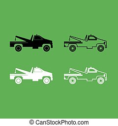 Breakdown truck icon  Black and white color set