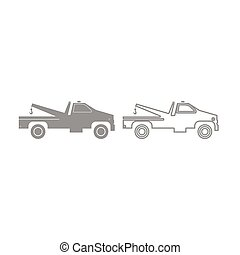 Breakdown truck icon. Grey set .