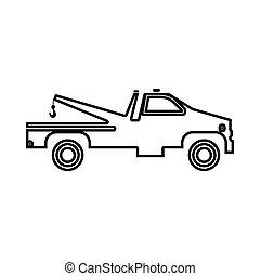 Breakdown truck it is black icon .
