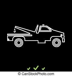 Breakdown truck it is white icon .