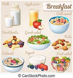 Breakfast 2. Set of cartoon vector food icons