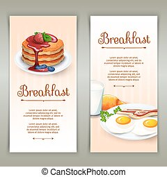 Breakfast 2 vertical banners set