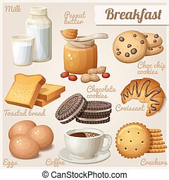 Breakfast 3. Set of cartoon vector food icons