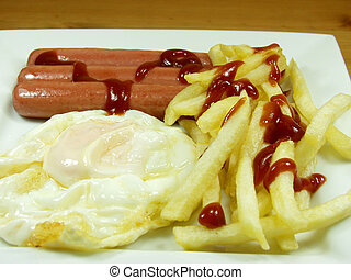 Breakfast - A power packed breakfast of egg, sausages and ...