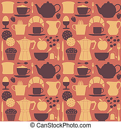 Breakfast Background - Seamless repetitive pattern with...