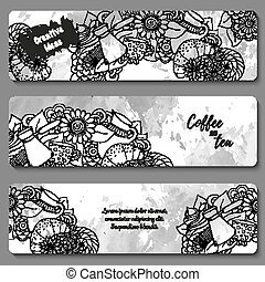 Breakfast banners. Tea and coffee hand drawn pattern. Card background for menu, site, cafe, restaurant, teahouse.