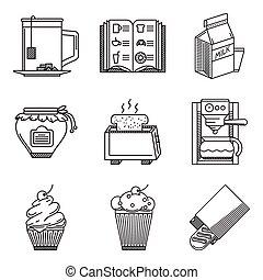 Breakfast black line vector icons