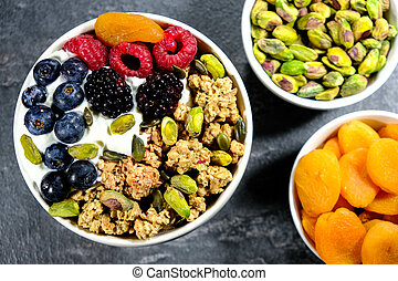 Breakfast Bowl of Cereals Yogurt and Fruit