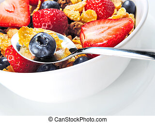 Breakfast bowl with cereals and fre