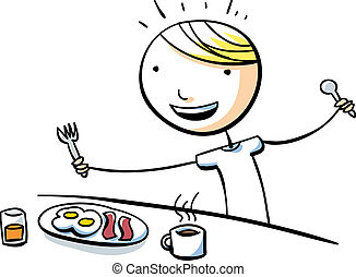 Breakfast Boy - A cartoon boy is happy to eat a big ...