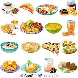 Breakfast Brunch Menu Food Icons Set